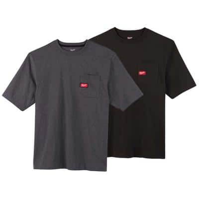 Men's Small Black and Gray Heavy-Duty Cotton/Polyester Short-Sleeve Pocket T-Shirt (2-Pack)