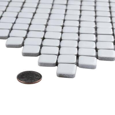 Hudson Diamond Glossy White 12 in. x 12 in. Porcelain Mosaic Tile (10.85 sq. ft. / Case)