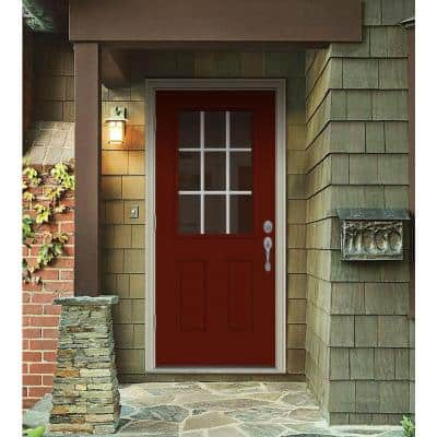 34 in. x 80 in. 9 Lite Mesa Red Painted Steel Prehung Right-Hand Outswing Back Door w/Brickmould