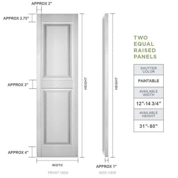 Builders Edge 12 In X 67 In Raised Panel Vinyl Exterior Shutters Pair In Paintable 030120067030 The Home Depot
