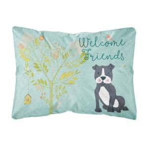 12 in. x 16 in. Multi-Color Lumbar Outdoor Throw Pillow Welcome Friends Black Staffie