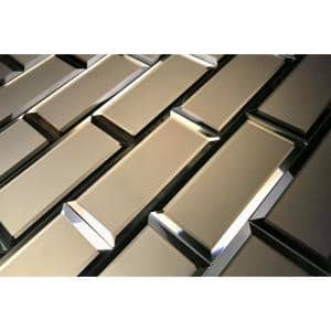 Reflections Gold Subway 3 in. x 6 in. Matte Glass Mirror Wall Tile (1 sq. ft. )