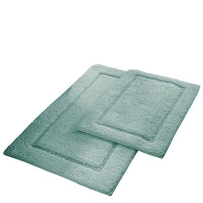 2-Pack Solid Loop Cotton 21x34 inch Bath Mat Set with non-slip backing Spa Blue