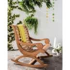 Sonora Teak Brown Eucalyptus Wood Outdoor Rocking Chair