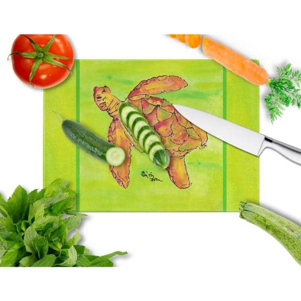 Caroline S Treasures Turtle Tempered Glass Large Heat Resistant Cutting Board 8376lcb The Home Depot