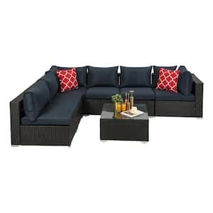 Dark Coffee 7-Piece Wicker Lithium Outdoor Garden Patio Furniture Sectional Sofa Sets with Dark Blue Cushions