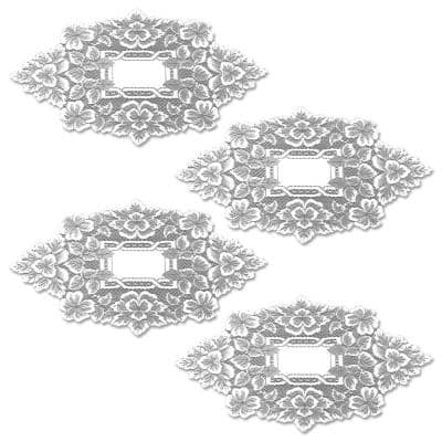 Heirloom 12 in. x 20 in. White Doily (Set of 4)