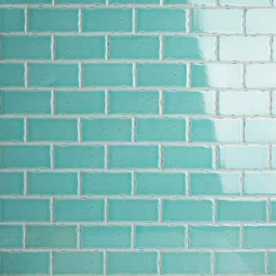 Novecento Aguamarina 2-1/2 in. x 5-1/8 in. Ceramic Subway Wall Tile (6.16 sq. ft. / case)