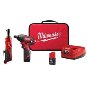 M12 12-Volt Lithium-Ion Cordless 1/4 in. Hex Screwdriver and 1/4 in. Ratchet Combo Kit (2-Tool)