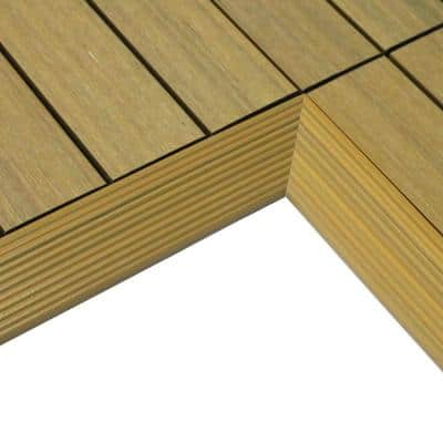 1/6 ft. x 1 ft. Quick Deck Composite Deck Tile Inside Corner Fascia in English Oak (2-Pieces/Box)