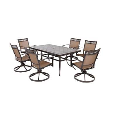 7-Piece Aluminum Outdoor Dining Set with Swivel Rocker Sling Chair Set and Porcelain Tile Top Table