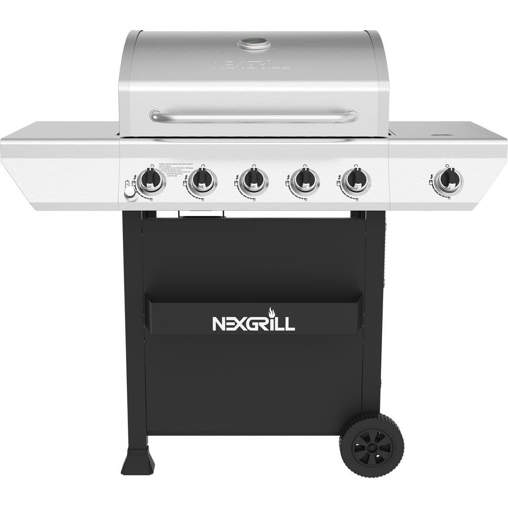 Nexgrill 5-Burner Propane Gas Grill in Stainless Steel with Side Burner and Condiment Rack-720-0888S - The Home Depot
