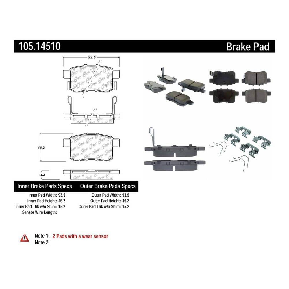 Centric Parts Disc Brake Pad Set 105 14510 The Home Depot
