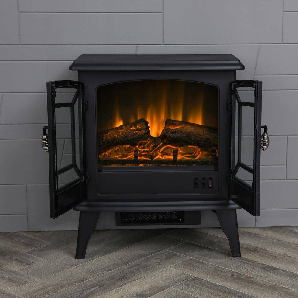 Lokatse Home 20 In Freestanding Electric Fireplace In Black Fd19452 The Home Depot