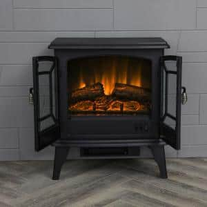 20 in. Freestanding Electric Fireplace in Black
