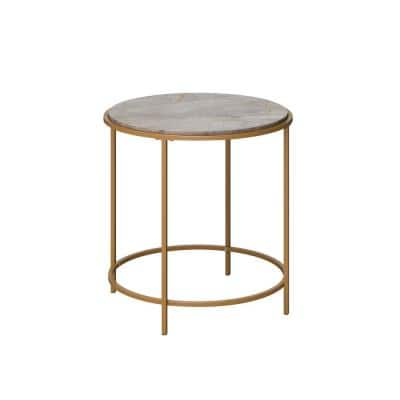 International Lux 22.008 in. Satin Gold Round Faux Deco Stone End Table