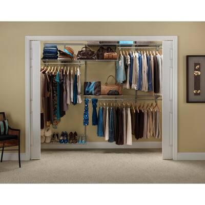 ShelfTrack 5 ft. to 8 ft. 12 in. D x 96 in. W x 78 in. H Nickel Steel Closet System Organizer Kit