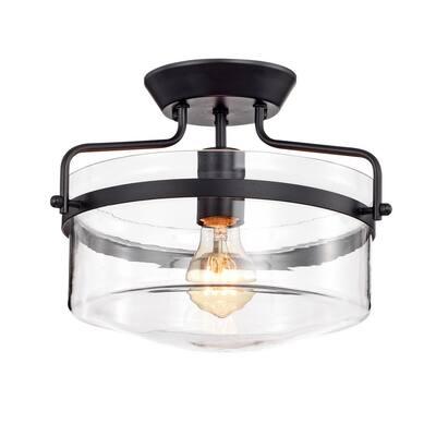 Merwin 1-Light Matte Black Semi-Flushmount Ceiling Lamp