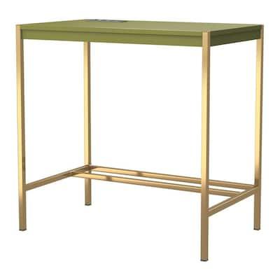 Bunda 30 in. Rectangle Gold Coating and Olive Branch Writing Desk