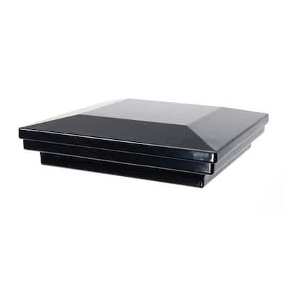 5 in. x 5 in. Gloss Black Aluminum Flat Pyramid Post Cap