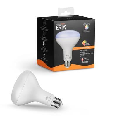 ERIA 65-Watt Equivalent BR30 Dimmable CRI 90+ Wireless Smart LED Light Bulb Multi-Color
