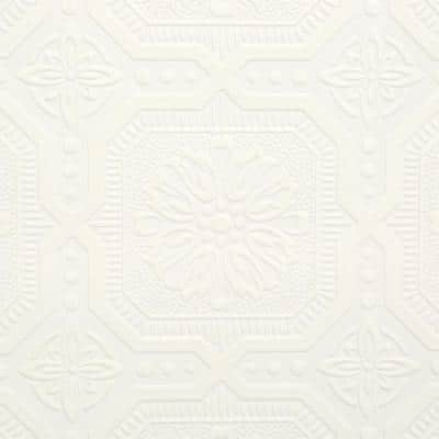 White Vinyl Pre-Pasted Moisture Resistant Wallpaper Roll (Covers 56 Sq. Ft.)