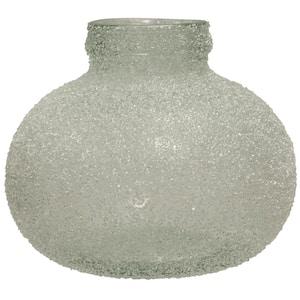 Translucent Smoke Crackle Glass Round Vase