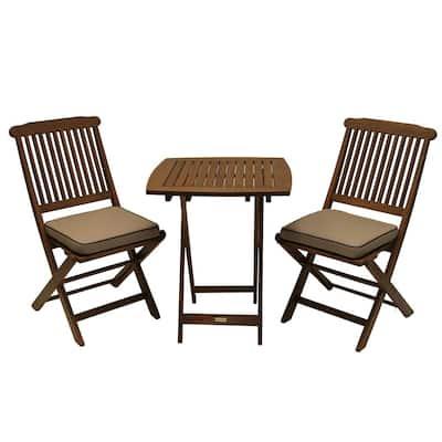 3-Piece Eucalyptus Outdoor Bistro Set with Beige Cushions