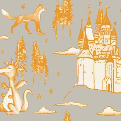 Medieval Toile Grey & Orange Wallpaper Border