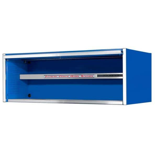 Extreme Tools 72 in. 0-Drawer Power Workstation Professional Hutch with Stainless Steel Shelf and Work Surface in Blue