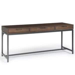 72 in. Rectangular Walnut Brown 3 Drawer Writing Desk with Solid Wood Material