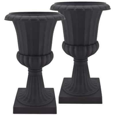 Deluxe Pedestal 22 in. x 36 in. Black Plastic Urn (2-Pack)