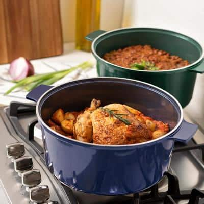 5 qt. Round Aluminum Ultra-Durable Nonstick Diamond Infused Sparkled Coating Dutch Oven in Navy