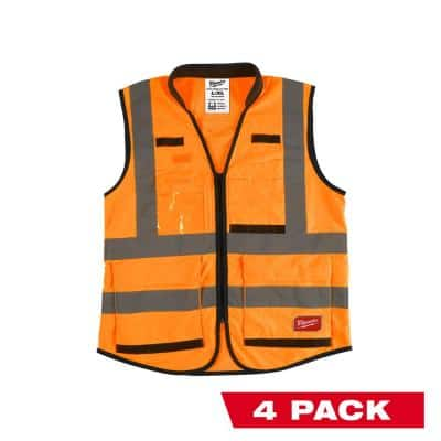 Performance 2X- Large/3X-Large Orange Class 2-High Visibility Safety Vest with 15 Pockets (4-Pack)