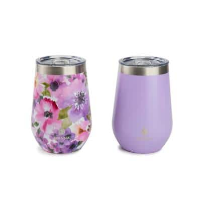 12 oz. Purple Floral Stainless Steel Stemless Wine Tumbler (2-Pack)