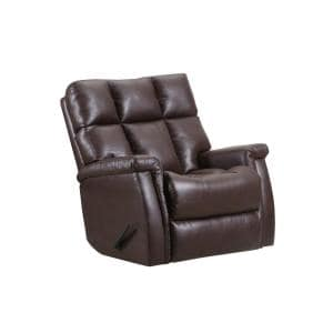 Badlands Walnut Leather Look with Gray Pattern Rocker Recliner