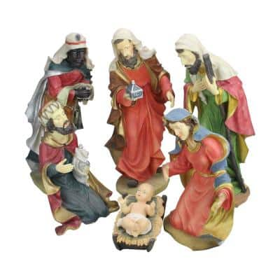 19 in. Large Scale Holy Family and Three Kings Religious Christmas Nativity Statues (6-Piece)