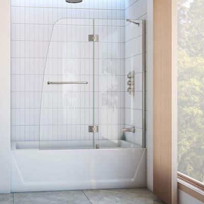 Aqua 48 in. x 58 in. Semi-Frameless Hinged Tub Door in Brushed Nickel