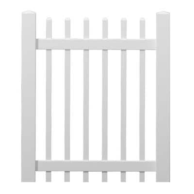 3.6 ft. x 4 ft. White Vinyl 1.5 in. Assembled Picket Fence Gate