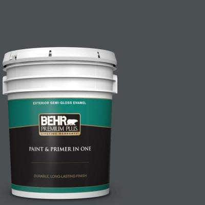5 gal. #PPU18-01 Cracked Pepper Semi-Gloss Enamel Exterior Paint and Primer in One