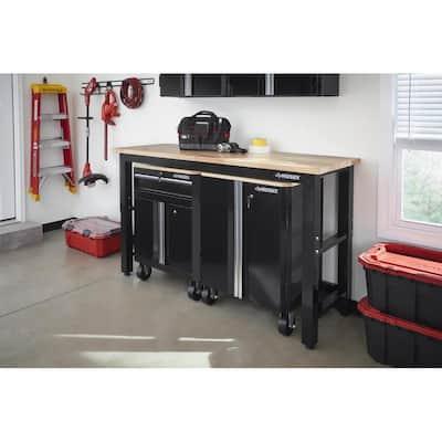 3-Piece Ready-to-Assemble Steel Garage Storage System in Black (72 in. W x 42 in. H x 24 in. D )