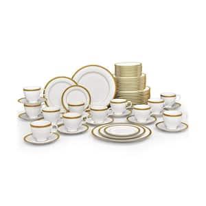Charlotta Gold White Porcelain 60 Piece Dinnerware Set, Service for 12