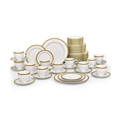 Charlotta Gold White Porcelain 60 Piece Dinnerware Set, Service for 12