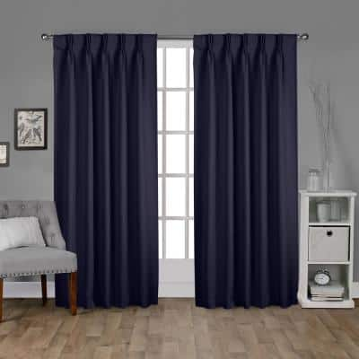 Peacoat Blue Thermal Pinch Pleat Blackout Curtain - 30 in. W x 108 in. L