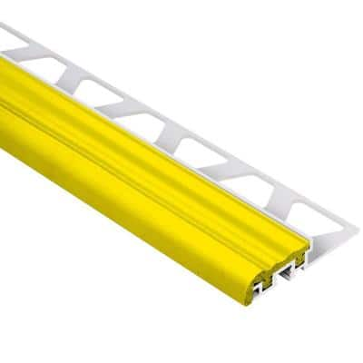 Trep-S Aluminum with Yellow Insert 5/16 in. x 8 ft. 2-1/2 in. Metal Stair Nose Tile Edging Trim