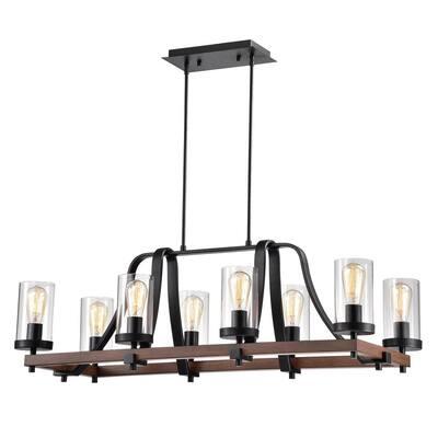 Guntel 40 in. 8-Light Black Indoor Chandelier