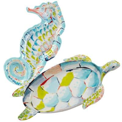 Deep Sea 2-Piece Multicolored Melamine Hostess Set