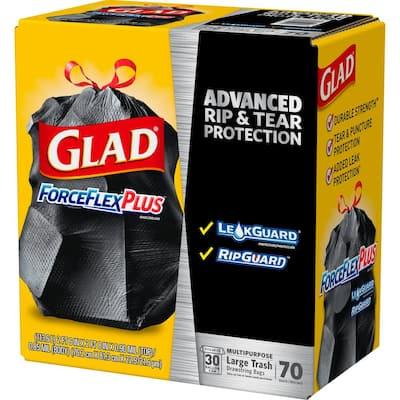 30 Gal. Drawstring ForceFlexPlus Large Black Trash Bags (70-Count, 3-Pack)