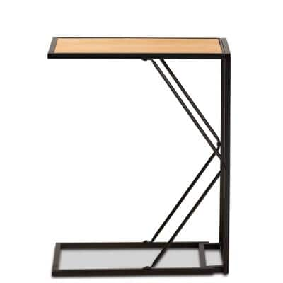 Johan 20 in. Black and Walnut Brown C-Shape MDF End Table