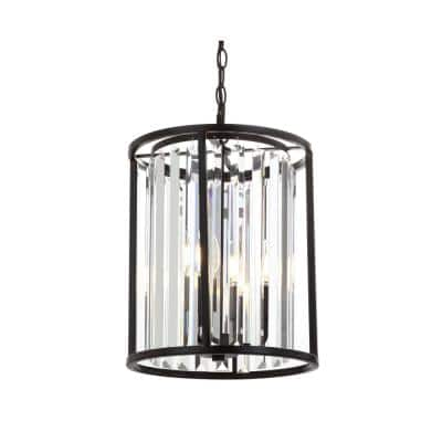Bevin 16 in. Oil Rubbed Bronze Metal/Crystal LED Pendant